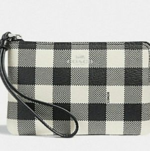 COACH CORNER ZIP WRISTLET WITH GINGHAM PRINT